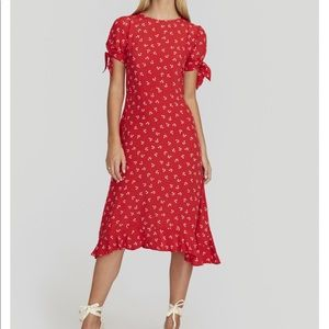 FAITHFULL THE BRAND Cherry Red Emilia Midi Dress